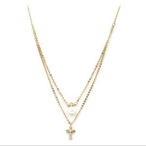 Gold duplexes mini crystal cross pearl necklace